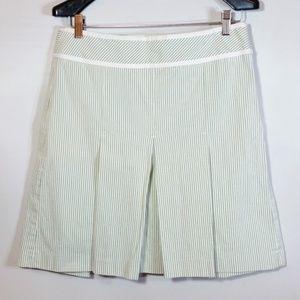 Textured Pinstripe Pleated A-Line Skirt Petite EUC